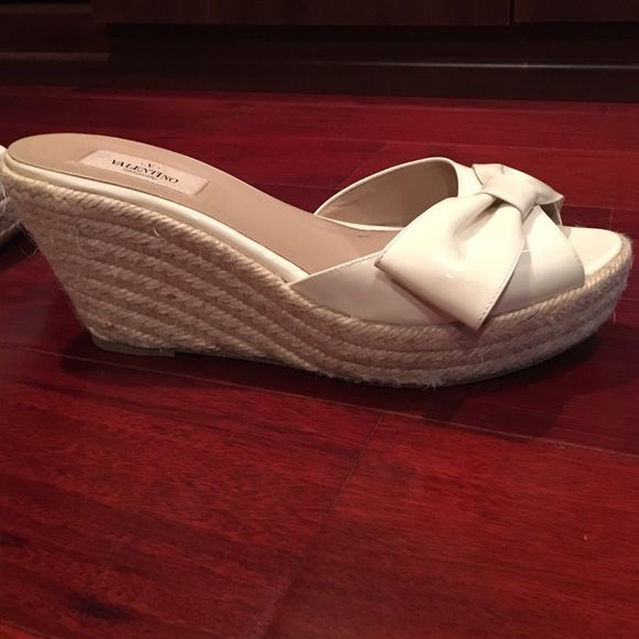 Valentino espadrilles Creamy white patten leather. Valentino wedge sandal. Size 40. Not recommended for a wider foot. Fits pretty true to size. Valentino Shoes Espadrilles
