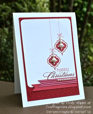 handmade Christmas card ... red and white ... Mosaic Madness tiles stamped as hanging Christmas ornaments ... pearls ... fishtail flags ... lots of white space ... like this card! ... Stampin' Up!
