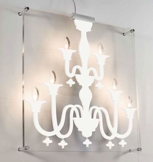 """Eclectic Wall Sconces Itama Sinfonia AP 6, AP 10 Wall Mount Chandelier by Scangift  AP 6 6 x max 20W G4 halo  AP 10 10 x max 10W G4 halo  Wall fixture provides diffused light. The metal structure and components are in chrome finish. The transparent methacrylate shade diffuser features a """"chandelier"""" in white, red or black. The Itama Sinfonia Collection includes wall and ceiling mount."""