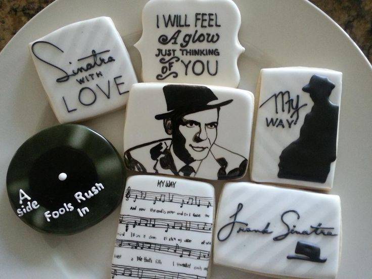 Cookie Art Frank Sinatra Decorated Iced Sugar Cookie