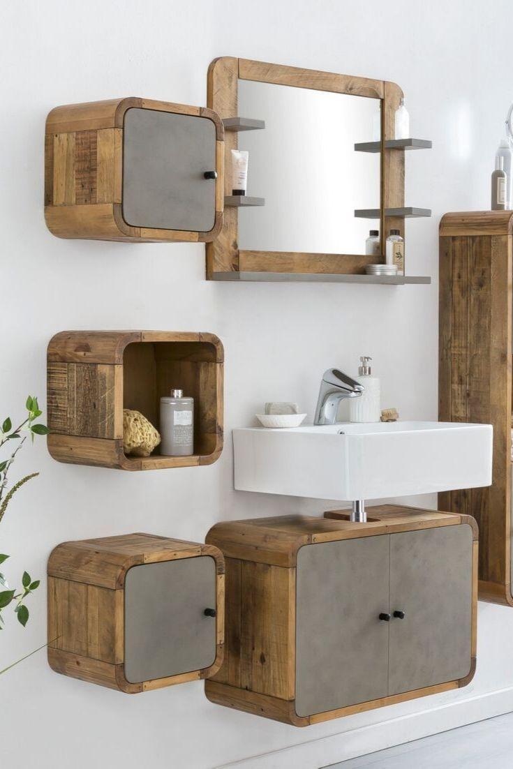 Waschbeckenunterschrank Dingle Spiegelschrank Bad Holz Waschbeckenunterschrank Waschtisch Holz Beton