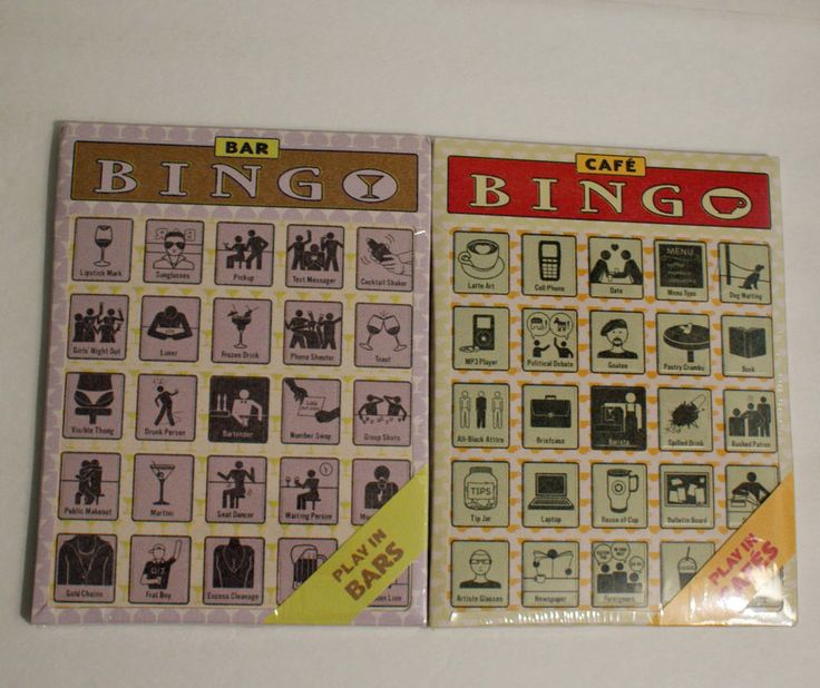 2 Knock Knock Bingo Cards Bar and Cafe Sealed Package 12 cards each #KnockKnock