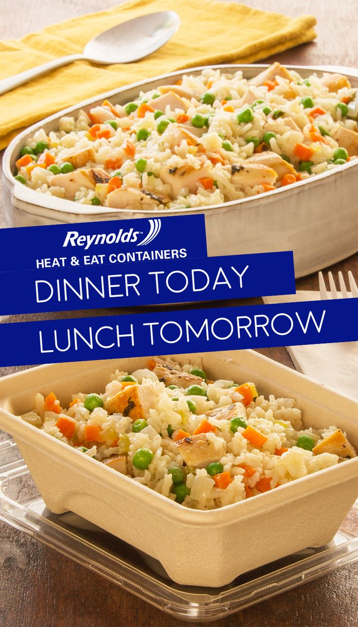 Reheat it, then eat it again! Our Easy Chicken & Rice recipe makes for a simple supper tonight, and leftovers can be packed up in Reynolds Disposable Heat & Eat containers for lunch tomorrow. They're made from plant fibers, which means they're perfect for the microwave and a great alternative to plastic. The best part? There's no cleanup when you're done.