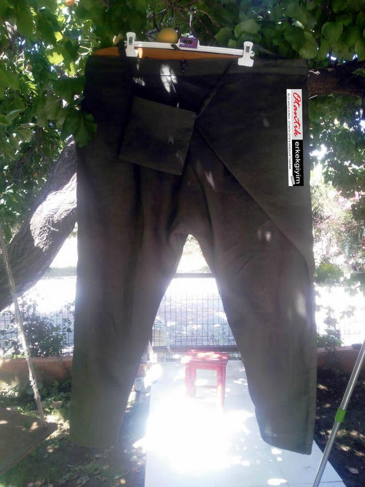Büyük Beden Haki Keten Gömlek&Şalvar - OET050717 | Otantik Erkek Giyim