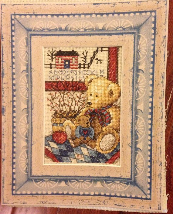 Completed Cross Stitch Teddy's Friend by dannileifer on Etsy, $24.99