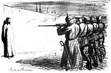 The Deserter, 1916. Anti-war cartoon depicting Jesus facing a firing squad made up of soldiers from five different European countries.