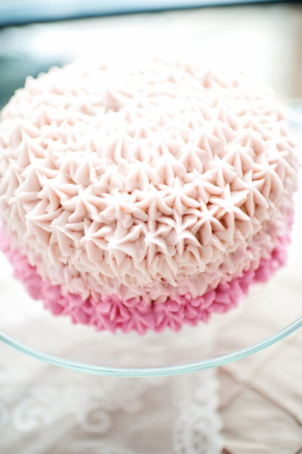 Sweet and stunning pink ombre cake! frosting wedding shower cake food