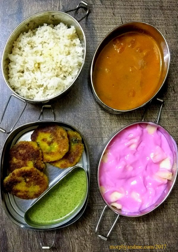 lunchbox ideas 8: Kacche kele ki tikki with green chutney for snack break; Rajma chawal , fruit custard for lunch. Comfort food at its best.