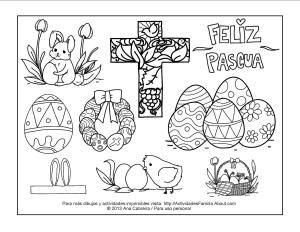 10 Dibujos de pascua de resurrección de descarga gratis. Conejitos, pollitos una cruz  o una canasta para colorear y celebrar la pascua junto a tus hijos.