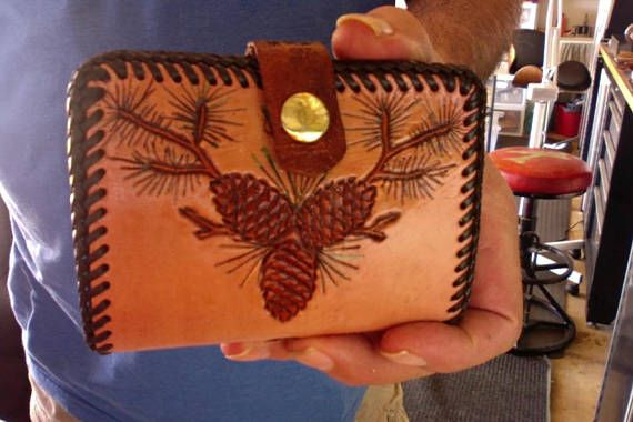 Wallet / Woman / Clutch / Pine Cones / Hand Carved and Tooed / Leather / Hand Crafted / Custom / Credit Card Bill Wallet / Women / Ladies