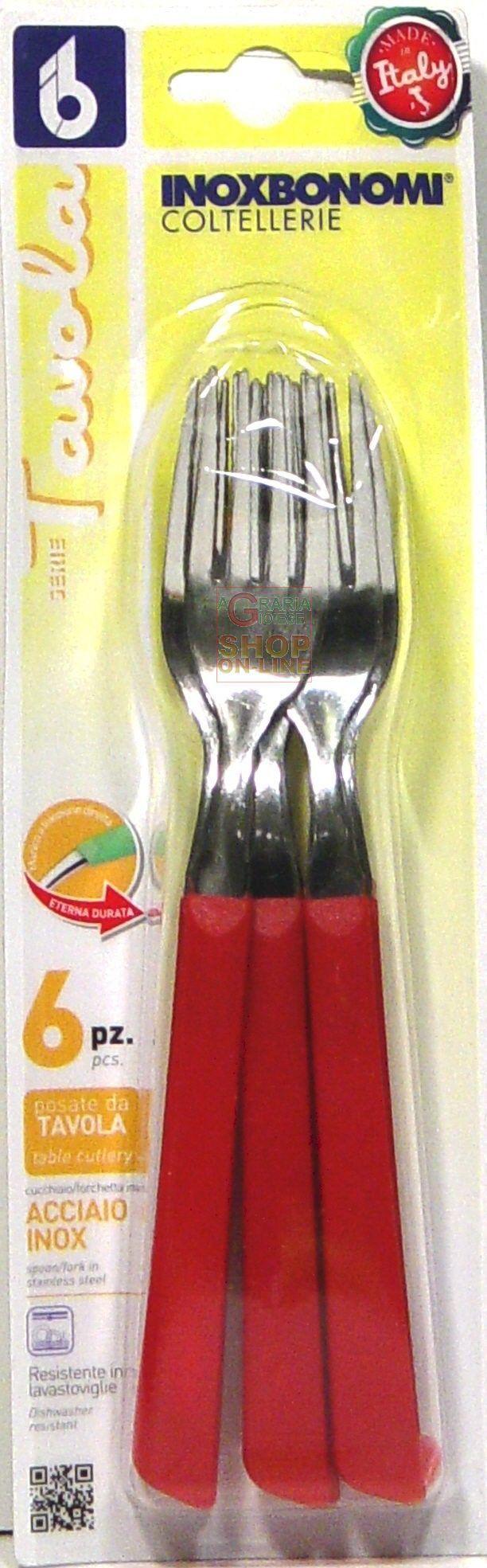 BONOMI SET FORCHETTE DA TAVOLA 6 PEZZI IN ACCIAIO INOX MANICO ROSSO http://www.decariashop.it/utensili-da-cucina/22123-bonomi-set-forchette-da-tavola-6-pezzi-in-acciaio-inox-manico-rosso-8007684220160.html