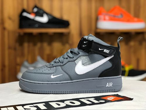 size 40 27220 5a73e Nike Air Force 1 07 Mid LV8 Wolf Grey Black White 804609 105 Mens Casual  Shoes