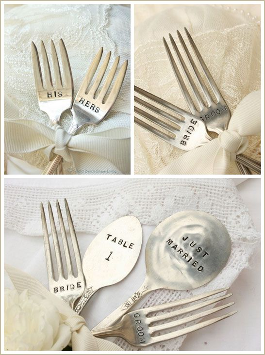 "A cool placecard idea! @kathleen?    Stamp with the guests name, and have ""table #"" held in the prongs on cardstock"