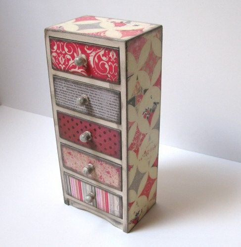 shabby chic five drawer jewelry box treasure box trinket box treasure boxes drawers and shabby. Black Bedroom Furniture Sets. Home Design Ideas