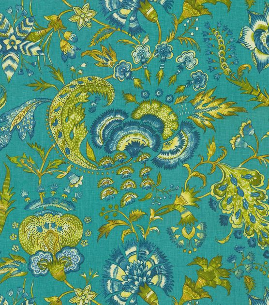 Upholstery Fabric-Williamsburg Grand Palampore Peacock, , hi-res