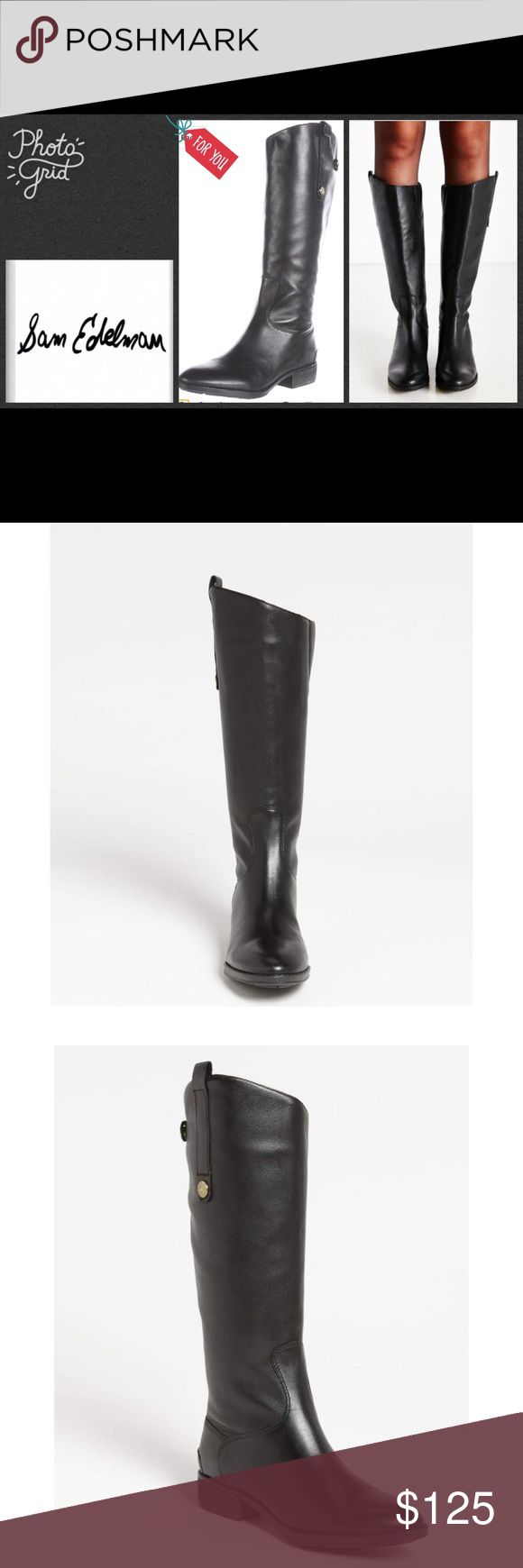Sam Edelman Women's Black Penny Boots [new] Burnished leather, distressed coin buttons, and a classic asymmetrical topline offer just the right amount of broken-in cool to Sam Edelman's Penny riding boot. Leather upper and manmade sole. Full back zipper with tab.  Boots have athletic fit. *shoes were displayed in high end store. See photos. Leather is burnished leather. Sam Edelman Shoes Over the Knee Boots