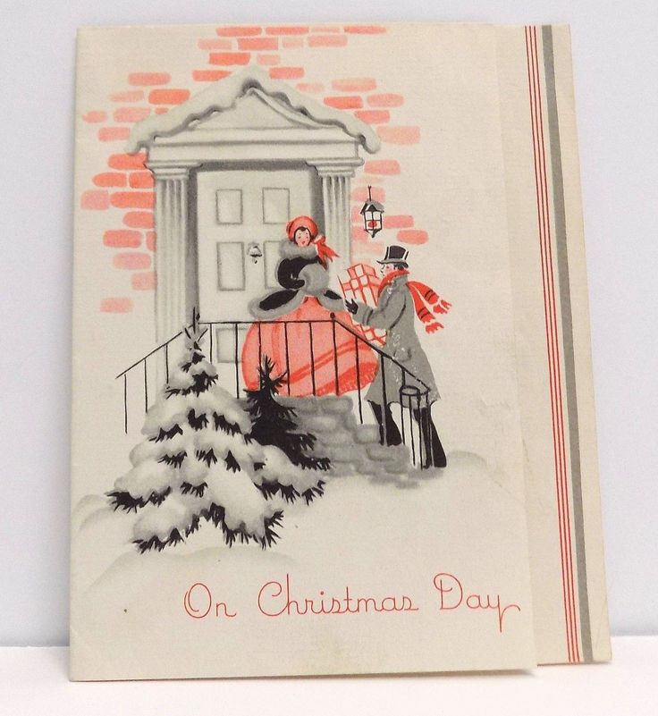 """Vintage Christmas Card Greeting Victorian Couple Front Door Muffs Top Hat FOR SALE • $1.99 • See Photos! Money Back Guarantee. Vintage Christmas Card Greeting Victorian Couple Front Door Muffs Top Hat (E-V) This Card measures about 4"""" X 5"""" . Card is singed, has some toning, lower left corner has 322017712424"""