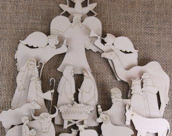 En bois Nativité artisanat forme ensemble 20 Articles Manger rois bergers anges de Noël