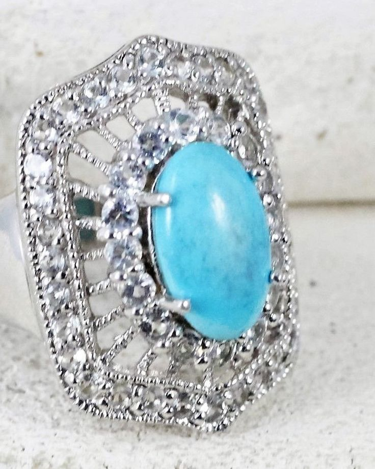 SIZE 10 Sterling Silver SIGNED Blue Turquoise Sparkling Quartz COCKTAIL 11g Ring #Cocktail