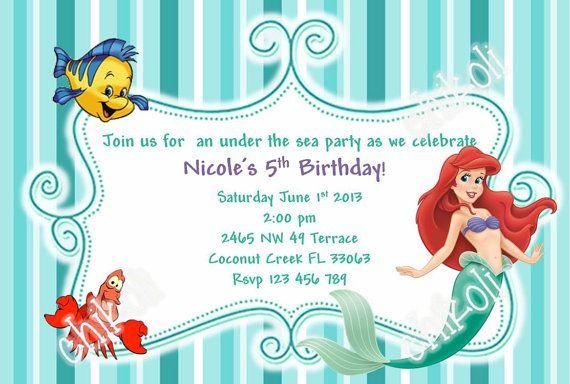 Little Mermaid Birthday Invitation Template - Ariel birthday invitations printable