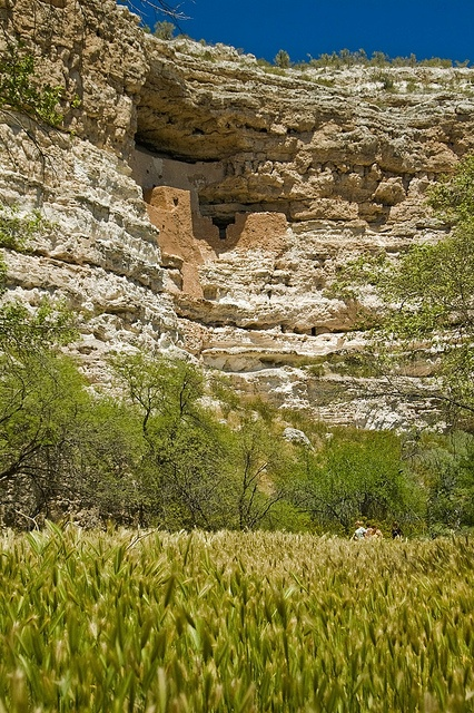 Montezuma Castle National Monument, AZ - Inhabited over a millennium ago by the Sinagua, these cliff dwellings are nestled in the sheer limestone cliffs overlooking a lush river valley in the otherwise dry and desolate Arizona landscape. When the ruins were discovered by European explorers, it was incorrectly believed to be Aztec in origin. Thus it was named after Montezuma II.