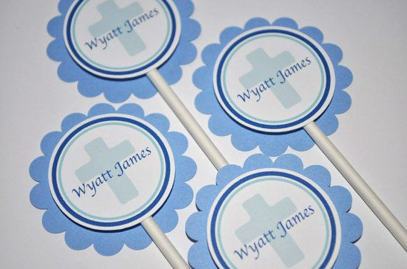12 Cupcake Toppers Boy's Baptism First by sosweetpartyshop on Etsy, $10.00