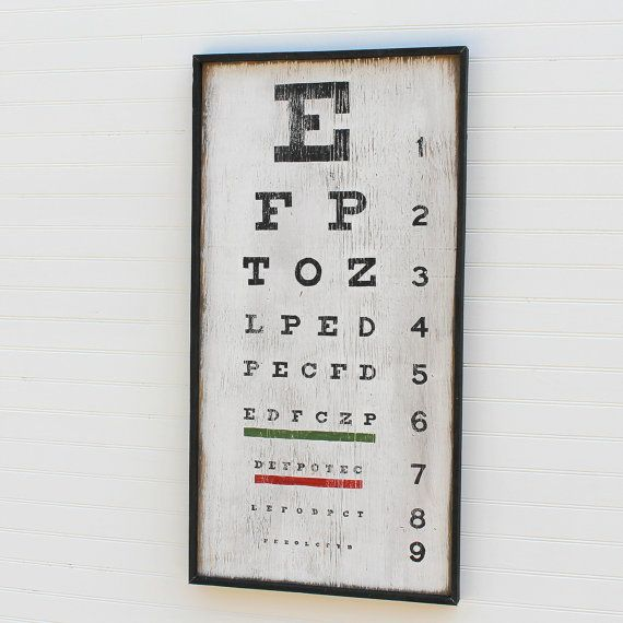 Now, tell me the letters you see....    Decorate your living space with this querky, vintage-style Eyechart Wall Art. Perfect for a shelf, study