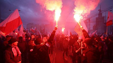 """Thousands join far-right march in Warsaw on Poland's Independence Day (PHOTOS, VIDEOS) https://tmbw.news/thousands-join-far-right-march-in-warsaw-on-polands-independence-day-photos-videos  Loud, racist and extreme-right activists have hijacked Poland's Independence Day celebrations in Warsaw. United under the """"We Want God"""" slogan, nationalist activists held banners which read """"Death to the enemies of the homeland,"""" amongst others.The so-called """"Independence March,"""" to celebrate Poland's…"""