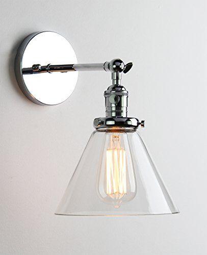 Industrial Wall Light Chrome: Buyee® Modern Vintage Industrial Metal Head Glass Shade