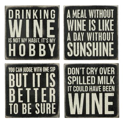 #Wine #Signs. 4 Box signs all about wine.