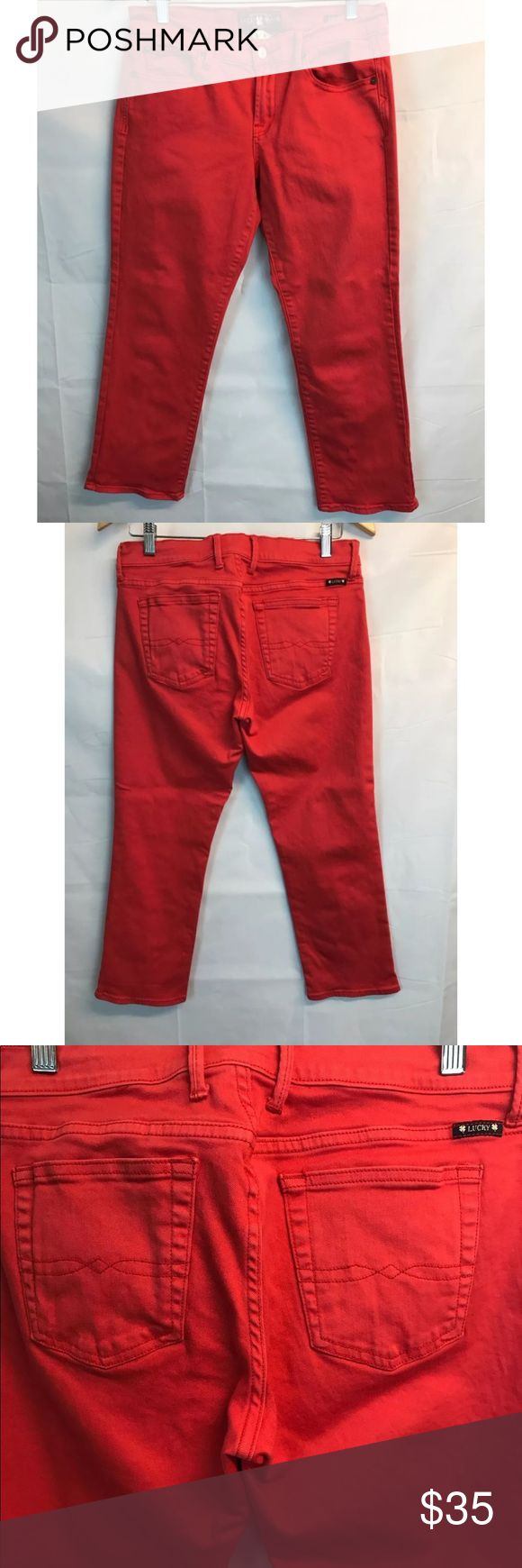 "Lucky Brand Sweet n' Crop Pants Denim Red Jeans 8 Lucky Brand Sweet n' Crop Pants Woman Red Jeans Sz 8 29 26 Inseam Denim Size: 8 / 29 Waist (across): 16""  Rise: 9.5"" Inseam: 26"",  Leg opening: 7.5""  98% Cotton, 2% Elastane Good condition. Lucky Brand Jeans Ankle & Cropped"