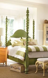 Catalina Poster bed by Somerset Bay in apple green - proof that a really ugly old wooden bed can be really cool painted!