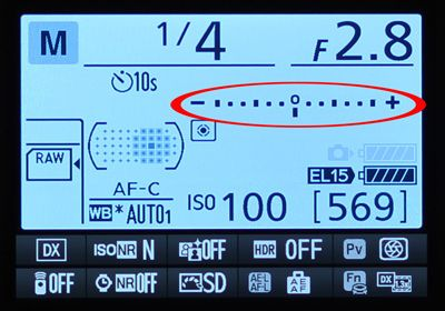 Nikon D7100 Camera Metering mode which indicates if there is enough light or too much light falling on the camera sensor.