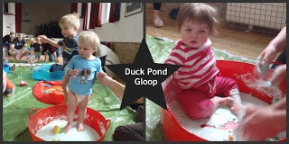 Blue gloop made from cornflour and water and blue food colouring. Made to look like a pond, I added some plastic ducks and frogs.