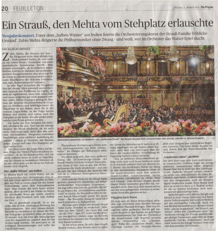 2015-01-02; Presse Feuilleton; Neujahrskonzert: Ein Strauß, den Mehta vom Stehplatz erlauschte
