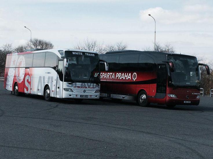 The Slavia Praha and Sparta Praha buses