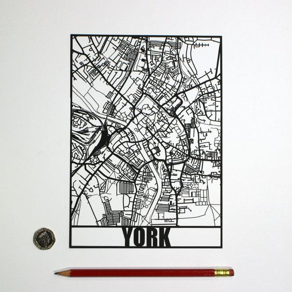 This listing is for a papercut map of York, England - a perfect gift or souvenir for anyone with a connection to York. The design measures exactly 21cm x 15cm and is available in a range of colours  To keep the pricing affordable, I have cut this piece using a laser cutting machine that I hand built and installed on the boat Plan B that is both my home and a floating papercutting studio. This does the majority of the cutting and leaving me to just clean it up with a scalpel where required. I…