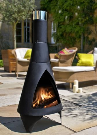 Colorado Modern Steel Chimenea From Posh Garden Furniture. Available In  Black Or Green.