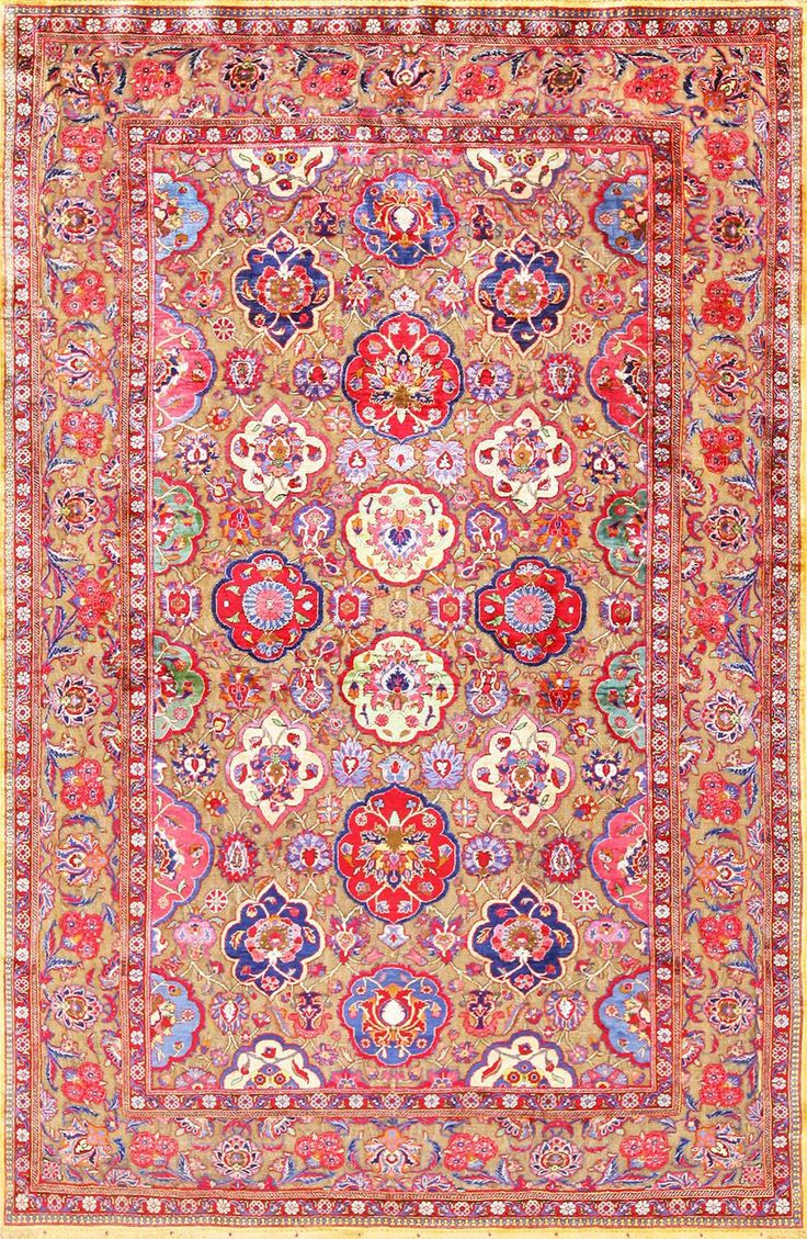 view this beautifully woven overall design fine antique silk and metalic thread Persian Souf Kashan rug 49205 by Nazmiyal