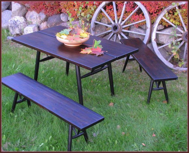 Pirkka table with benches. Designed by Ilmari Tapiovaara. Manufacturer Laukaan puu Ltd.