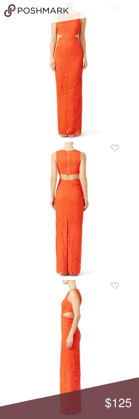 Nicole Miller orange coast gown sz 10 euc Gorgeous coral/orange color (closer to photo at black tie event). Size 10 runs small. Long length (has not been hemmed). Nicole Miller Dresses
