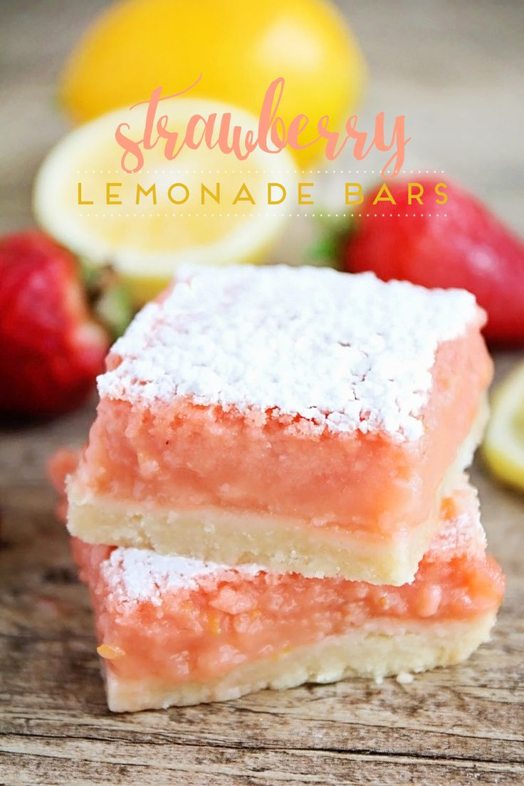 These strawberry lemonade bars are tangy and sweet and perfect for summer. They taste just like a glass of strawberry lemonade!