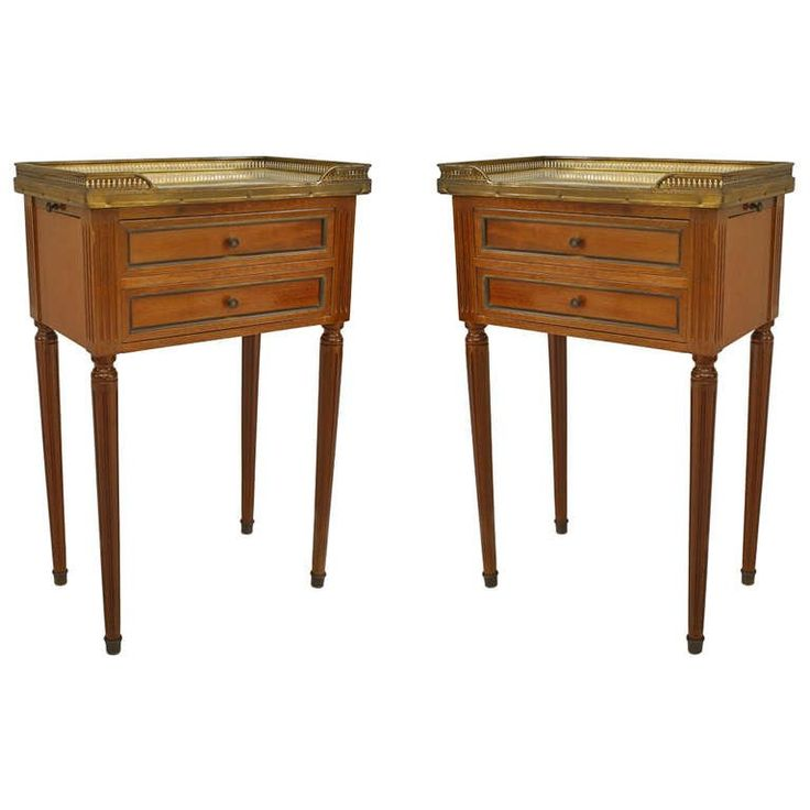 Pair of Louis XVI Style Brass Trimmed Marble Top End Tables | From a unique collection of antique and modern end tables at https://www.1stdibs.com/furniture/tables/end-tables/