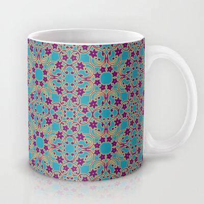 Turquoise Moroccan Pattern Mug by Sara PixelPixie - $15.00