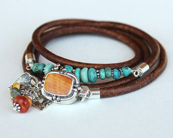 Wrap bracelet Turquoise, Spiny Oyster, sterling silver and leather wrap bracelet bangle