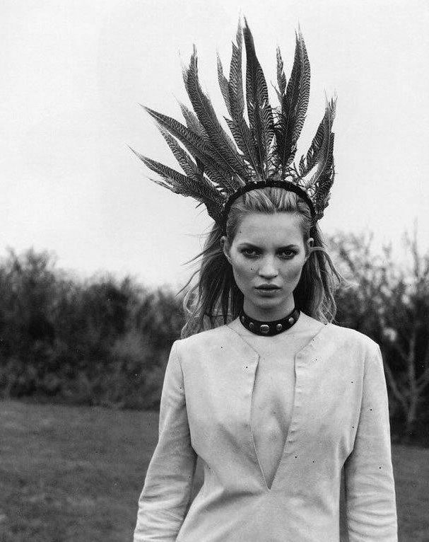 Boho Chic - Kate Moss in a feather headdress, bohemian style