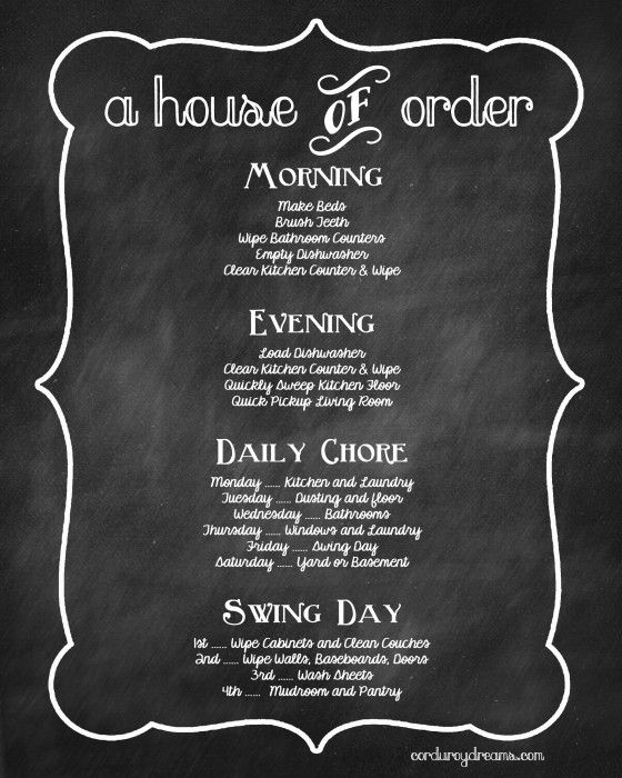 cute house cleaning schedule