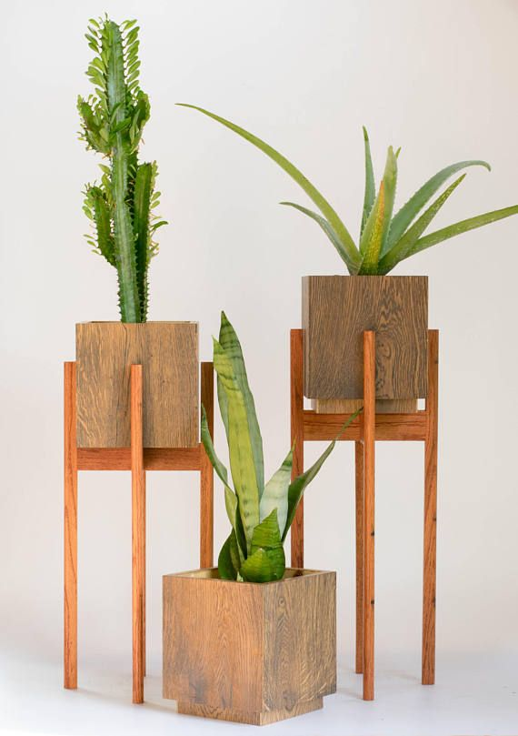 Mid Century Modern Plant Stand with Pot Large Planter with