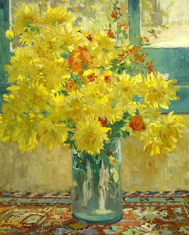 ❀ Blooming Brushwork ❀ - garden and still life flower paintings - Yellow Chrysanthemums - Colin Campbell Cooper (American Impressionist Painter, 1856-1937)