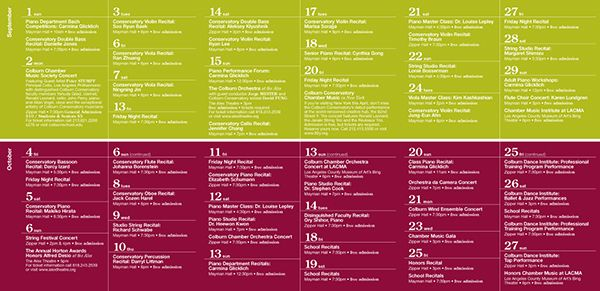The Colburn School Event Calendar | Web Design | Pinterest